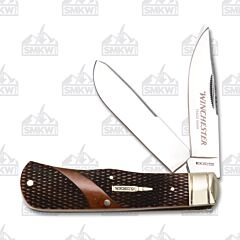 Winchester Brown Checkered Bone Medium Trapper 7Cr17MoV Stainless Steel Blades