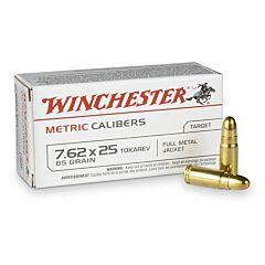 Winchester USA 7.62x25mm Tokarev 85 Grain Full Metal Jacket 50 Rounds