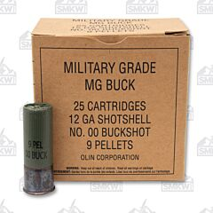 "Winchester Military Grade 12 Gauge 2-3/4"" 00 Buck 9 Pellets 25 Rounds"