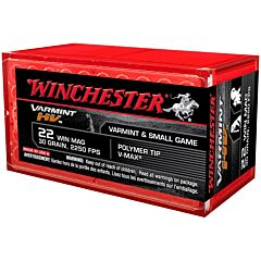 Winchester Varmint High Velocity 22 Winchester Magnum Rimfire 30 Grain Polymer Tip 50 Rounds
