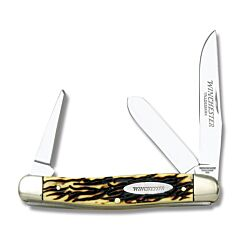 "Winchester Stockman 4"" with Buckstag Synthetic Handles and 440 Stainless Steel Plain Edge Blades Model W 40 14076CP"
