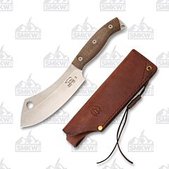 White River Bushcraft Camp Cleaver Natural Burlap Micarta