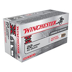 Winchester Super-X 22 Hornet 45 Grain Jacketed Soft Point 50 Rounds