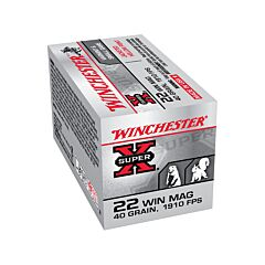Winchester Super-X 22 Winchester Magnum Rimfire 40 Grain Jacketed Hollow Point 50 Rounds