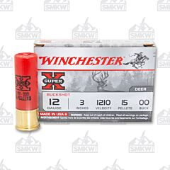 """Winchester Super-X 12 Gauge 3"""" 15 Pellet 00 Buck 5 Shells"""