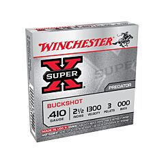 "Winchester Super X Shotgun Shells .410 Gauge 2.5"" 3 Pellet 000 Buck"