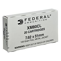 Federal American Eagle 308 Winchester/7.62 NATO 149 Grain Full Metal Jacket 20 Rounds