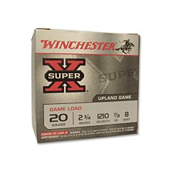 "Winchester Super X Game Load 20 Gauge 2-3/4"" 7/8oz #8 Shot 25 Rounds"