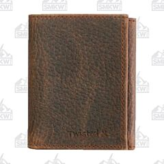 Twisted X Pebbled Brown Leather Trifold Wallet