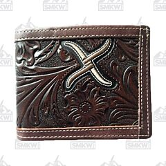 Twisted X Western Floral Tooled Chocolate Brown Bifold Wallet