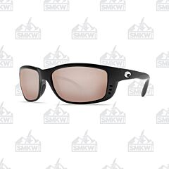 Costa Zane Sunglasses Matte Black Plastic Frame Copper Silver Mirror Polarized Glass Lenses