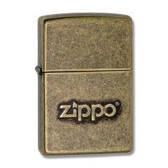 Zippo Logo Antique Brass Lighter