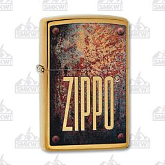 Zippo Zippo Logo Brushed Brass Lighter