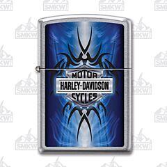 Zippo Street Chrome Harley Davidson Blue Tribal Lighter