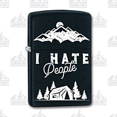 Zippo Black Matte I Hate People Lighter