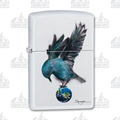 Zippo White Matte Spazuk Bluebird Lighter