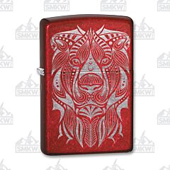 Zippo Lion Face Tattoo Candy Apple Red Lighter