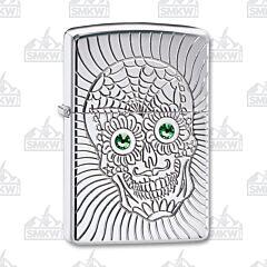 Zippo Armor Sugar Skull Design High Polish Chrome Lighter