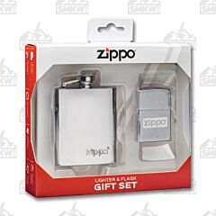 Zippo Flask and Brushed Chrome Luster Lighter