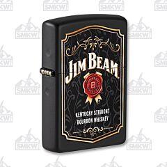Zippo Black Matte Jim Beam Wax Stamp Lighter