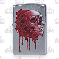 Zippo Bleeding Skull Brushed Chrome Lighter
