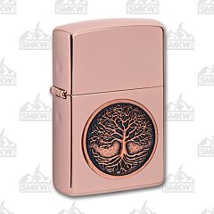 Zippo High Polished Rose Gold Tree of Life Lighter