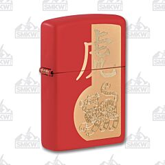 Zippo Red Matte Chinese Zodiac Year of the Tiger Lighter