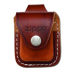 Zippo Logo Brown Leather Lighter Pouch with Loop