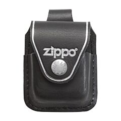 Zippo Logo Black Leather Lighter Pouch with Loop