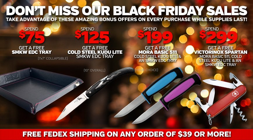 Don't miss these Benchmade Closeouts! See Shipping FAQ for $75 Free Shipping Details.
