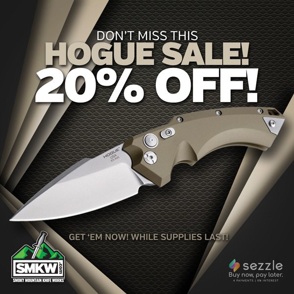 20% off most Hogue knives! Offer good thru 12/3/20 while supplies last.