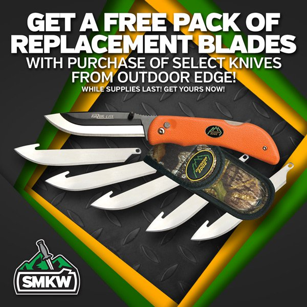 Get a free pack of replacement blades with the purchase of select knives from Outdoor Edge! Includes OERBY10, OERBB20, OERMK10, OERMB20, OERL10, OERB20, OERO20, and OEROC30.