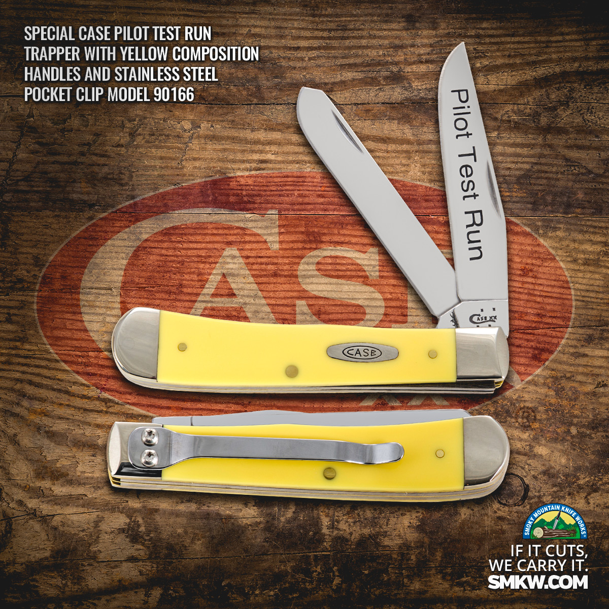 Case Pilot Test Run Yellow Handle Trapper with Pocket Clip
