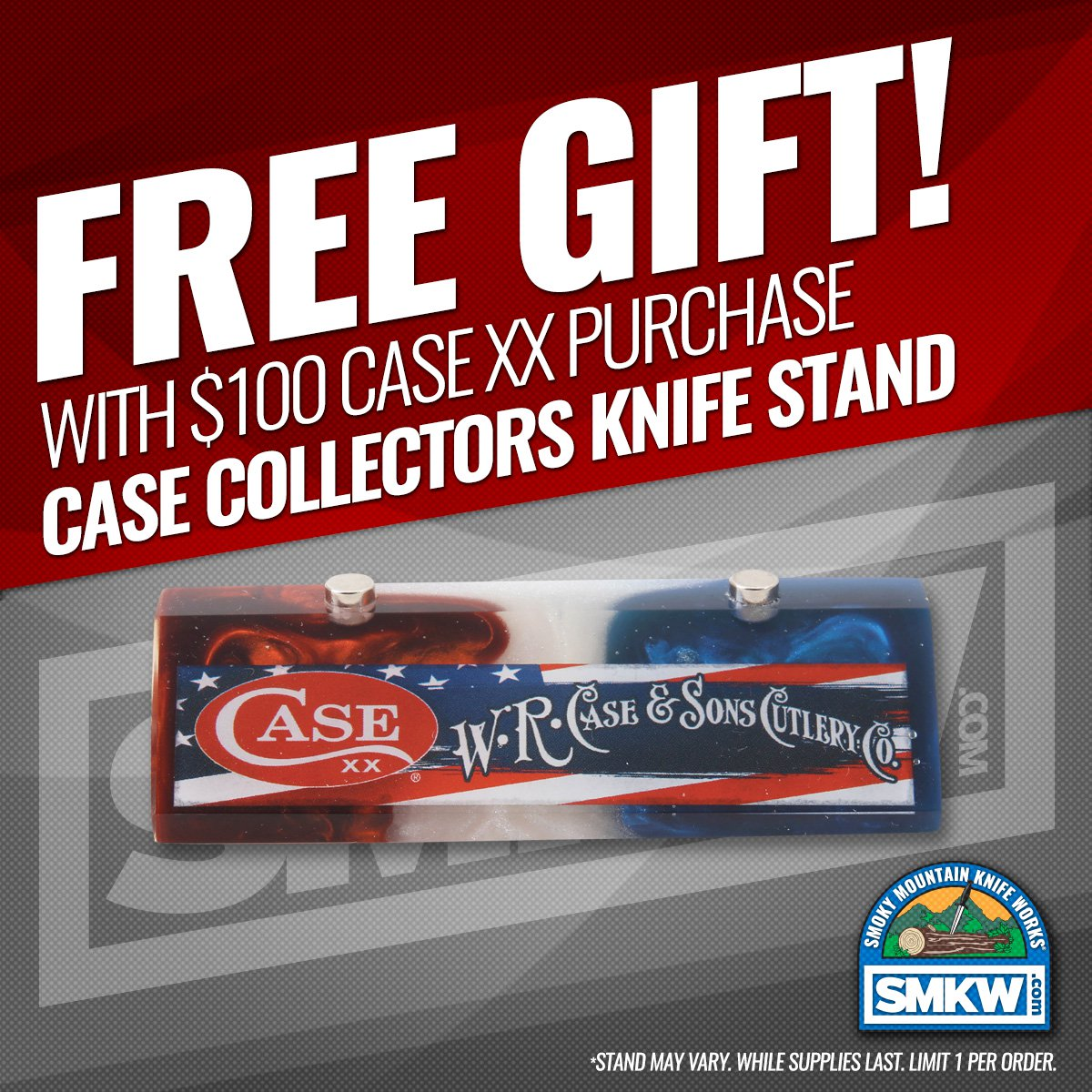 FREE! Case Magnetic Knife Stand (Stand May Vary) with $100 Case purchase. Limit (1) per order while supplies last. Offer expires 12/31/20.