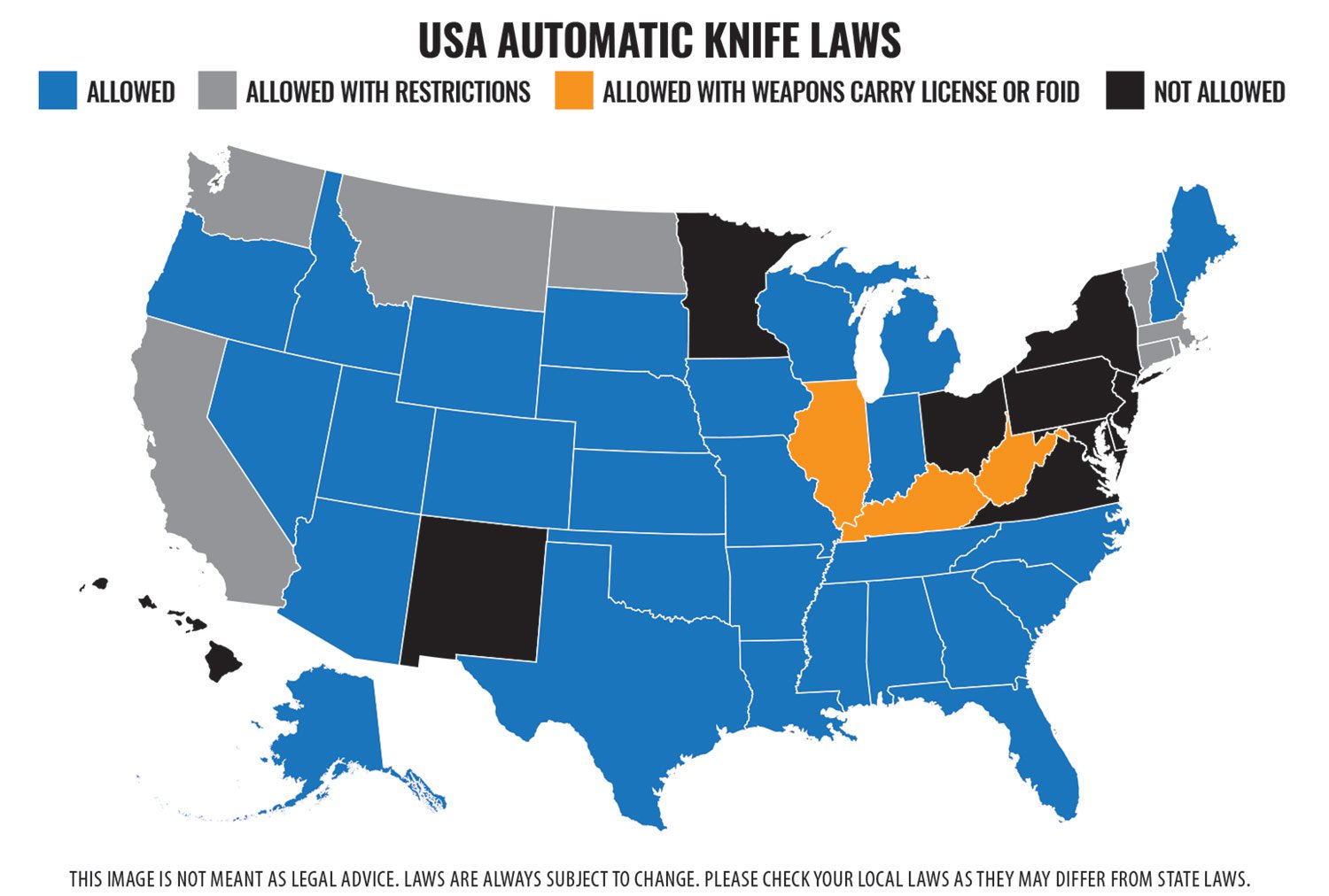 Automatic Knives Restrictions Map
